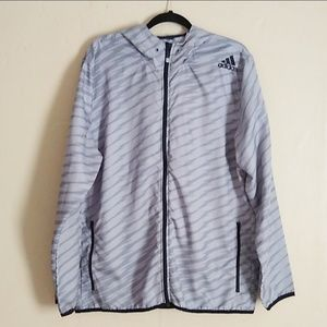 Adidas Striped Windbreaker Jacket Sz XL